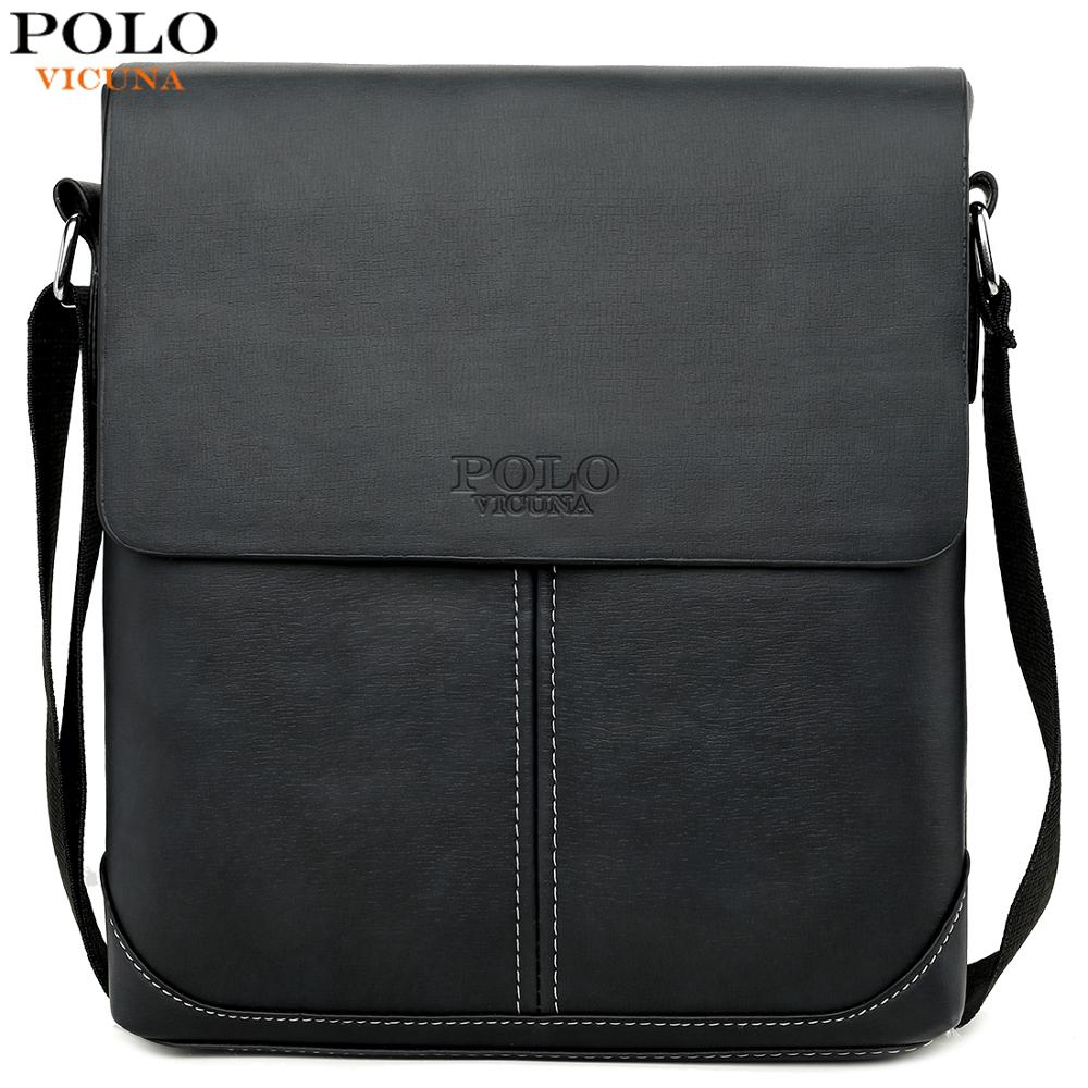 VICUNA POLO Vintage Panelled Men Messenger Bag Personality Contrast Color Crossbody Shoulder Bag For Man Business Man Handbag