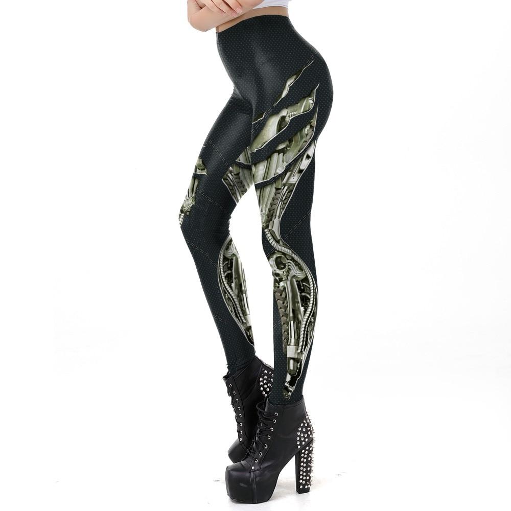 [You're My Secret] 2019 New Punk Style Dark Grey Steampunk Gear Of War Printed Leggins Women Workout Legging Fitness Ankle Pant