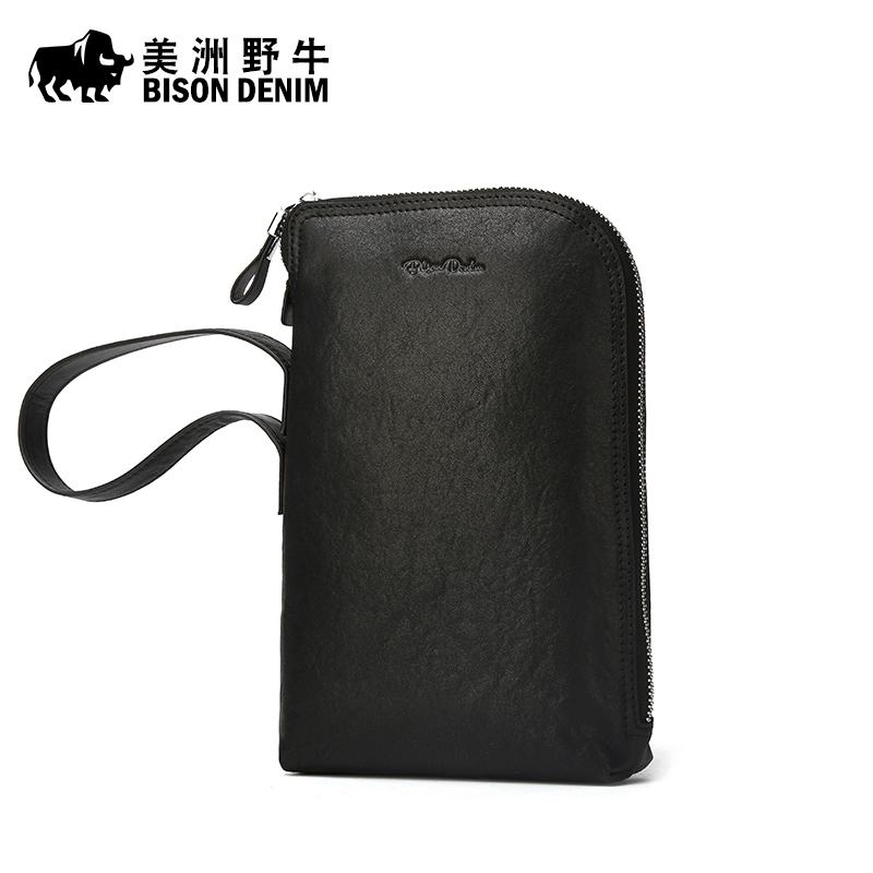 BISON DENIM Men Leather Genuine Business Large Capacity Clutch Bag High Quality Purse Cowhide Wallet Men's Bag Free Shipping