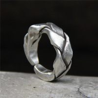 silver jewelry Handmade silver Thailand domineering S925 tail ring men and women weave food ring restoring ancient ways