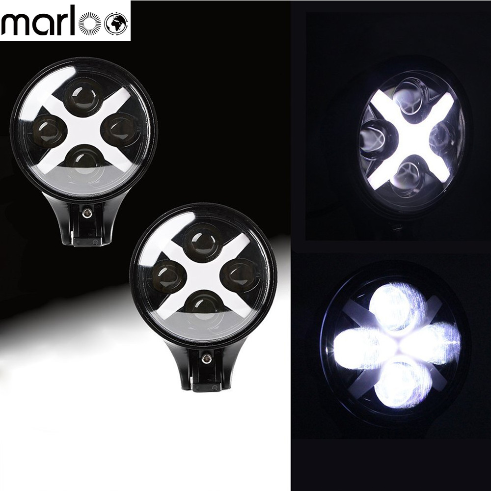 Marloo 6 inch 60W LED Spotlight Round Work Lamp W/ White 10W X DRL For Off Road Fog Driving Roof Bar Bumper SUV Boat 4x4 Jeep