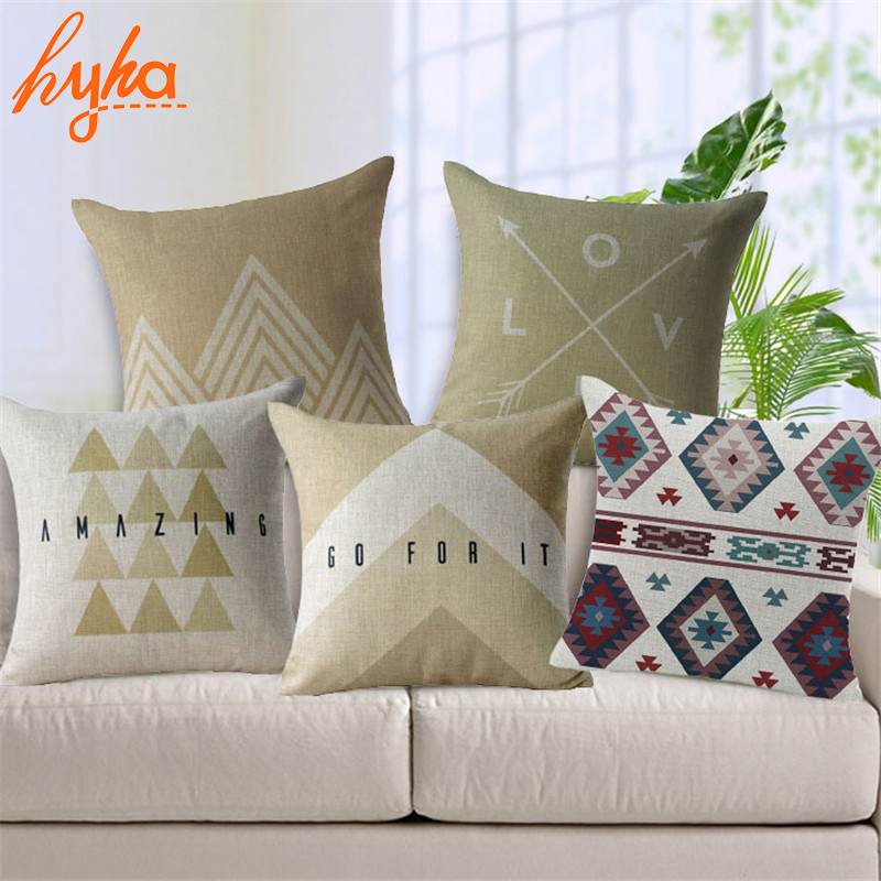 US $3.39 32% OFF Hyha Moroccan Style Cushion Cover Cotton Linen Arrow  letter geometry Home Deocrative Pillows Cover for Sofa Cojines-in Cushion  Cover ...