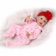 Nicery 22inch 55cm Reborn Baby Doll Magnetic Mouth Soft Silicone Lifelike Girl Toy Gift for Children Christmas Red Headwear Pink