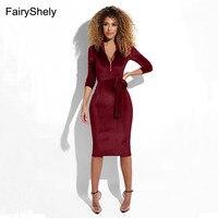 FairyShely 2019 New Women Bodycon Long Sleeve Dress Autumn Sexy Solid Velvet Zipper High Neck Midi Celebrity Evening Party Dress
