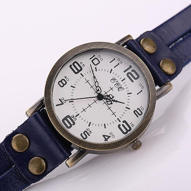 CCQ Vintage Leather Bracelet Watch Antique Women Wrist Watch Casual Ladies Quartz Watch Relogio Feminino 1347