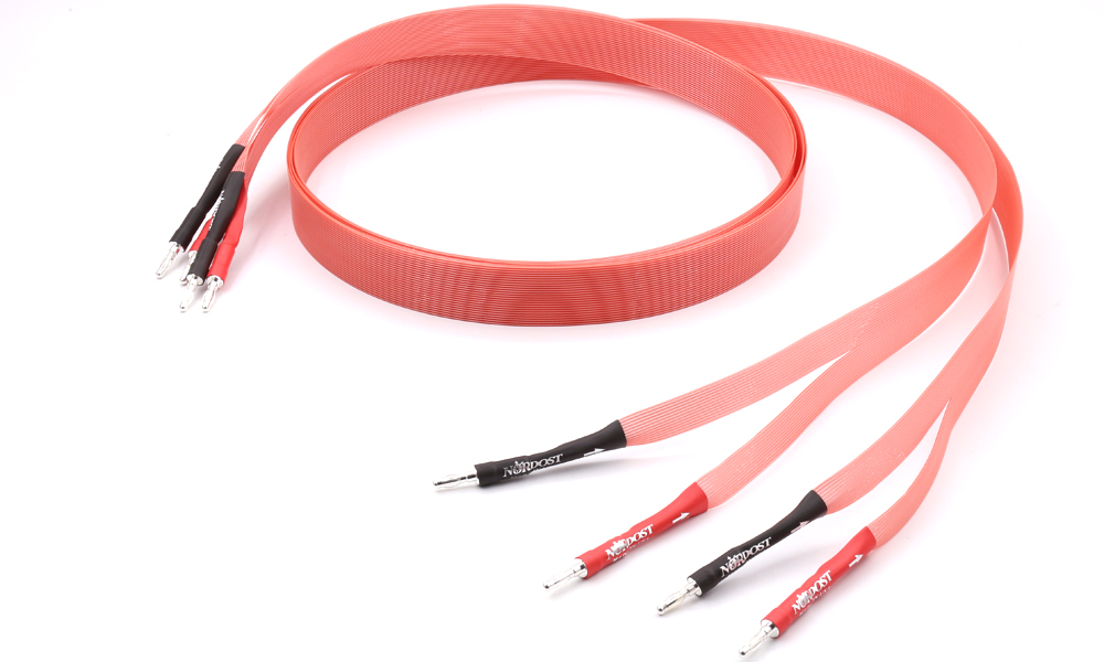 Pair Nordost Hi-End Red Dawn Telfon Audio Speaker Cable 2.5m 3m Gold plated banana plug