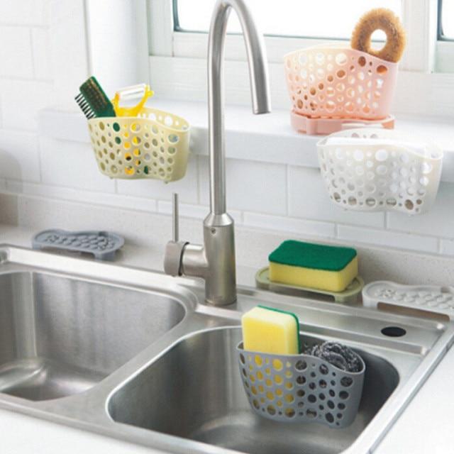 Kitchen Sink Shelf Soap Sponge Storage Holder Suction Cup Drain Basket Box Bath Tools