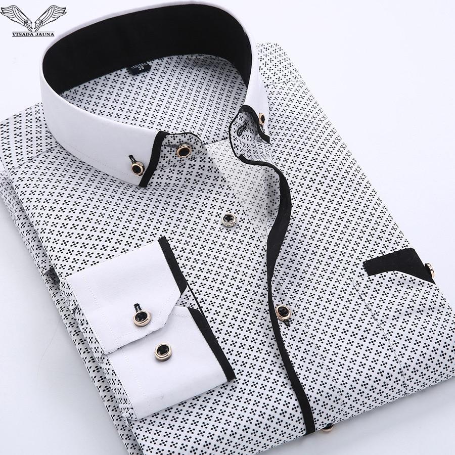 VISADA JAUNA 2018 Camisas Hombre Impreso Casual Marca Slim Fit manga larga de algodón Camisas Hombre de negocios Más el Tamaño S-4XL N454