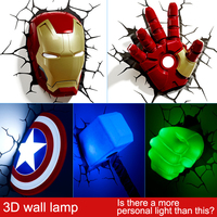 Guxen 3D TOYS Creative Sticker Wall Lamp The Avengers Spider Man Iron Man Hulk LED Lamp