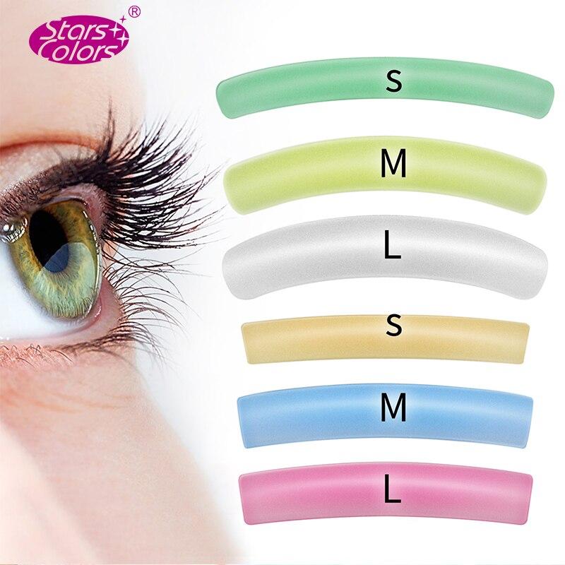 Sacos 10 (60 pares) colorful Flat & Onda Cílios Remendo Reutilizável Silicone Hastes Perm Cílios Elevador Adesivos Cílios Maquiagem Beleza