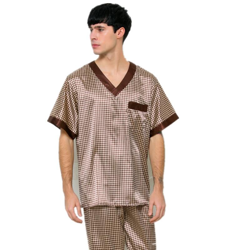 Sleepwear Pajamas-Set Tshirt Satin Home-Suits Male Men's Summer Casual Short Pants Faux-Silk