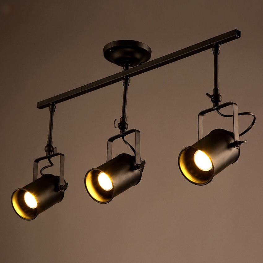 cheaper c0a46 05e97 US $169.17 9% OFF Modern Industrial Iron track ceiling lamp 3 head Clothing  Store/cafe creative Ceiling Track Spotlight lighting with E27 led bulb-in  ...