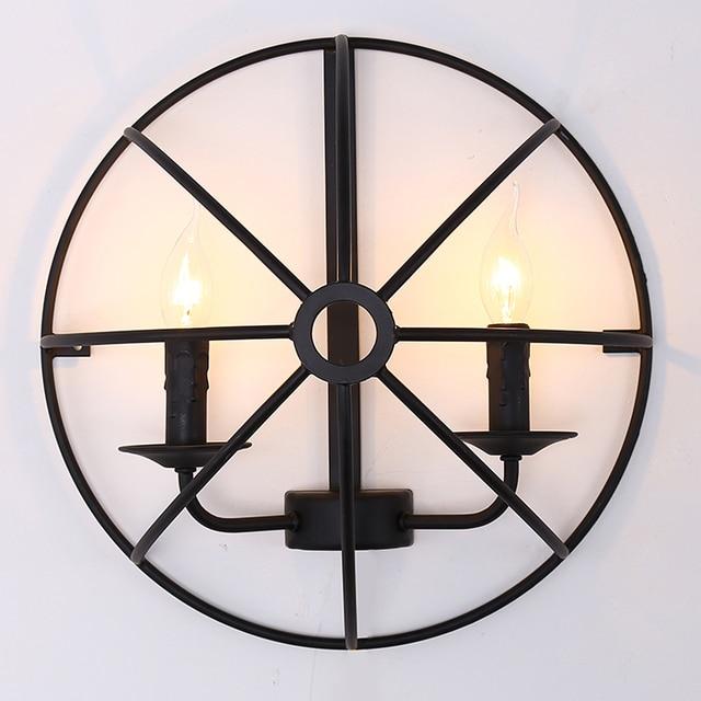 American country Nordic retro loft semicircle globe black iron wall lamp for restaurant bar dining room wall lamp
