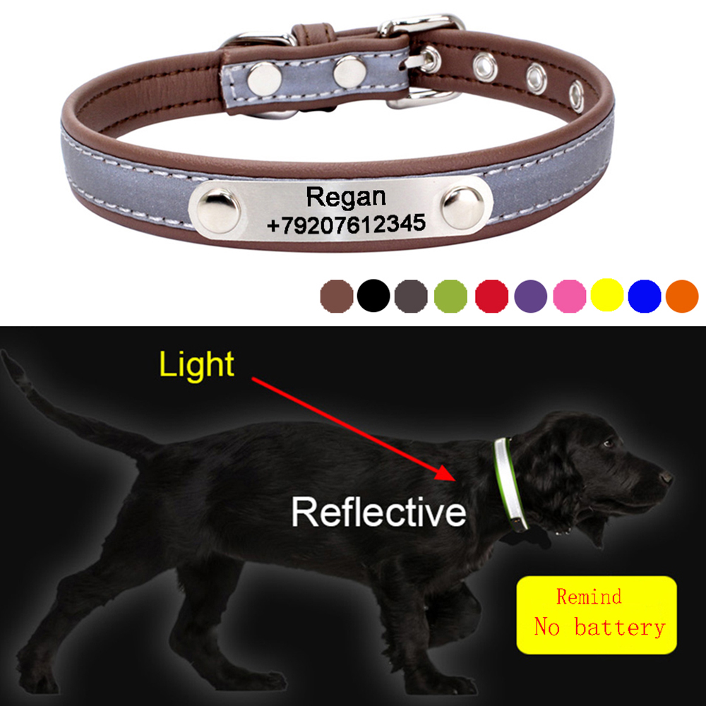 47b4ed2eee03 Reflective Pet Collar with ID Tag Personalized Big Dog Collar Engraved Cat  Tags Anti-lost