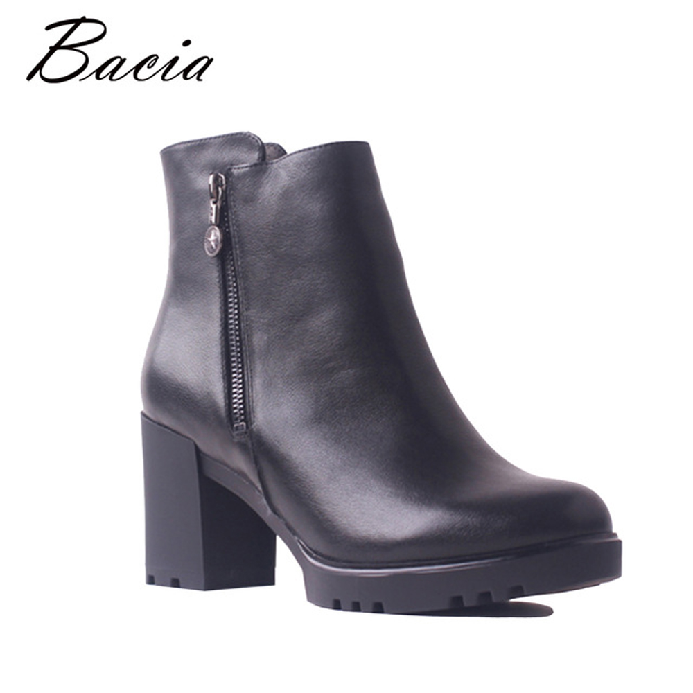 Bacia Winter Ankle Women Boots Genuine Leather Shoes Quality Cow Leather High Thick Heels Zipper Female Wool Fur Boots SB112
