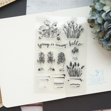potted plant Design Clear Transparent Stamp Silicone Stamps As Scrapbooking Decoration DIY Card Paper Gift Use lovly cartoon bear design silicon stamps scrapbooking stamp for kids diy paper card wedding gift christmas gift poto albumcl 032