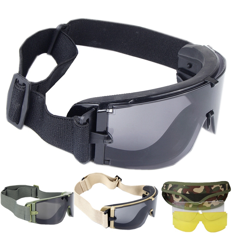 Black Tan Green Military Tactical Glasögon Airsoft Glasögon Outdoor Sports Paintball Glasögon Skytte Tactical Eyewear