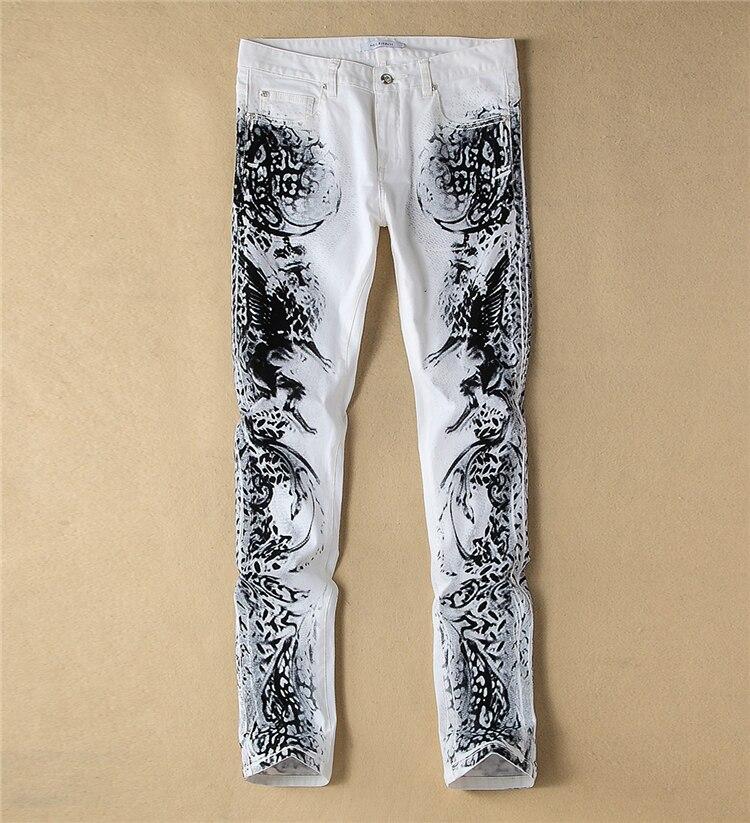 ФОТО   Fashion New  Novelty Print Man White Slim Jeans Fashion Painting Causal Jeans