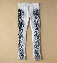 Fashion New  Novelty Print Man White Slim Jeans Fashion Painting Causal Jeans