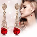 Fashion Women Gold Plated Statement Austria Crystal Long Earrings Rhinestone Water Drop Elegant Earring Jewelry