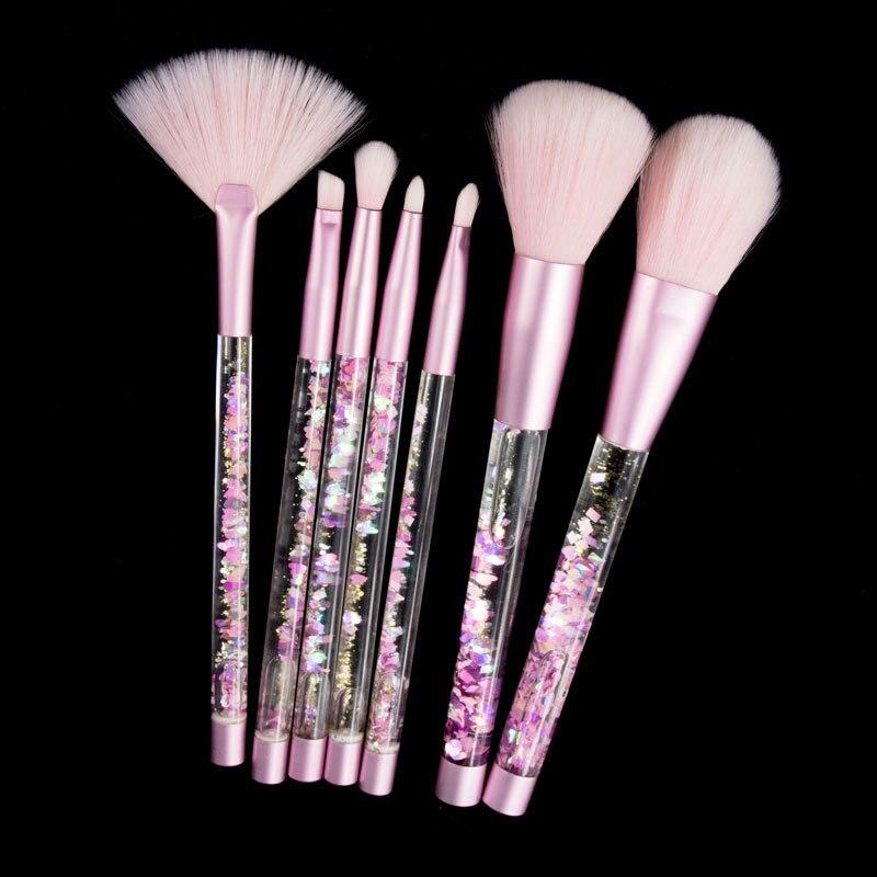 7 pcs Diamant Professionnel Brosses Poudre Licorne Make Up Brush Kwasten Set Glitter Cristal Maquillage Brush Set Sirène Brosse Outil