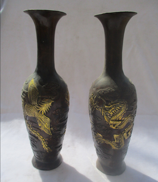 1 Pair Of Chinese Red Copper Gold Gilt Carved Dragon And Phoenix
