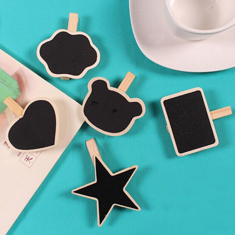 20pcs/lot Wholesale Cute Shape Wooden Mini Chalkboard Small Wood Clip Blackboard Portable School Office Home Message Board