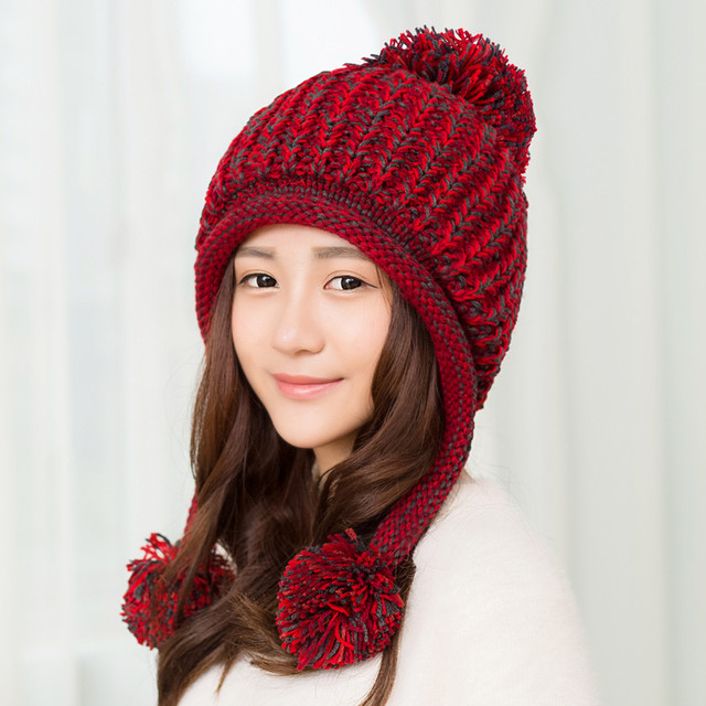 cfd9f84f1 Lovely Warm Winter Hat Female Korean Knitted Hat Winter 2016 Fashion  Cashmere Wool Cap With Ear Casual Winter Hats For Women-in Skullies &  Beanies ...