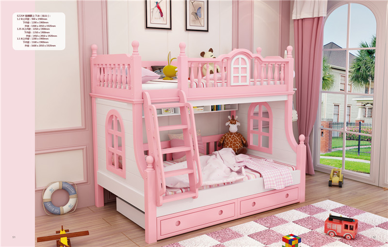 kids pink bunk bed child pink furniture wood bed-in