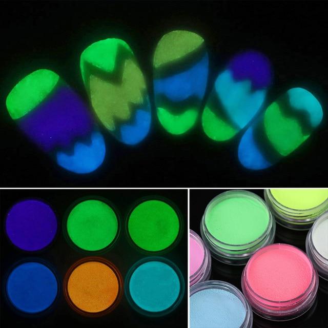 6 Colores de Uñas Luminoso Glitter Polvo de Acrílico Resplandor En ...