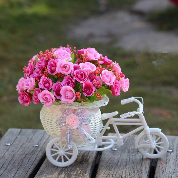 latest flowers decoration for wedding decorations Artificial Flower Vase Flowers Basket Set for Home office home Decoration