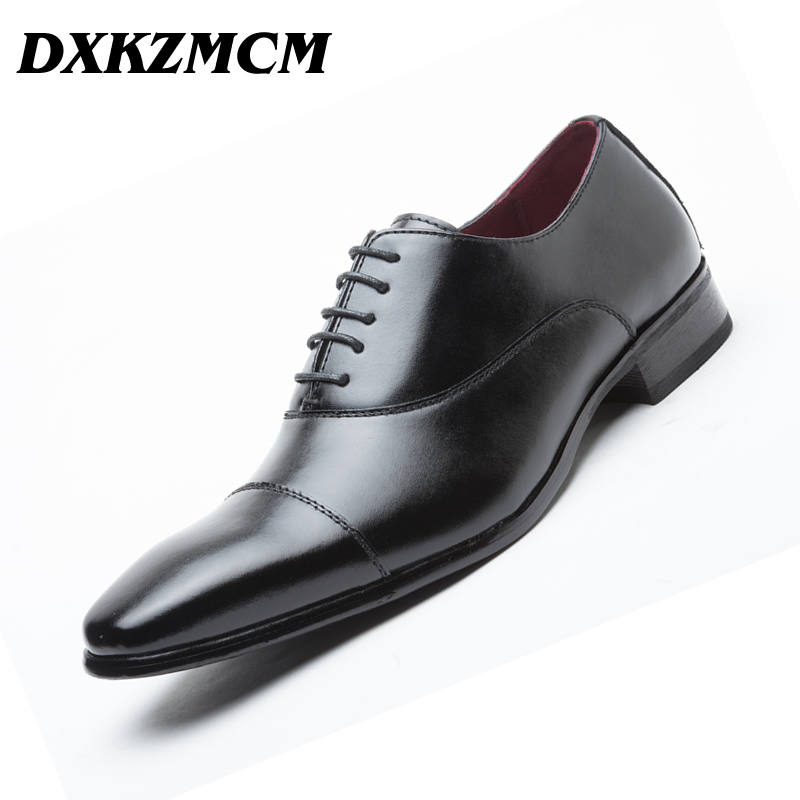 DXKZMCM Handmade Genuine Leather Men Oxford Lace Up Wedding Party Man Brown Dress Shoes Brogue Men Formal Shoes
