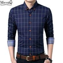 Mwxsd brand high Quality men casual plaid Shirt Mens Slim Fit shirts Long Sleeve male classic dress Shirts big size 4xl 5xl