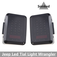 Fit 2007 2015 Wrangler JK J8 TJ SINISTER BLACK LED Brake Taillight Smoke LED Rear Tail