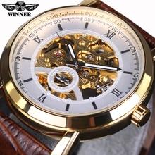Ganador Reloj mecánico Automático de Oro Bisel Esfera Blanca de Cuero Marrón Diseñador Mens Relojes de Primeras Marcas de Lujo Reloj Reloj de Los Hombres