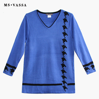 MS VASSA Women Sweaters 2018 New Autumn Solid V Neck Ladies Jumpers Long Sleeve Stylish Winter Pullovers Oversized Plus Size 5XL