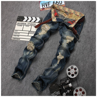 High Quality Fashion Denim Pants Silm Fit Male Mens Light Blue Brand Vintage Designer Casual Hole