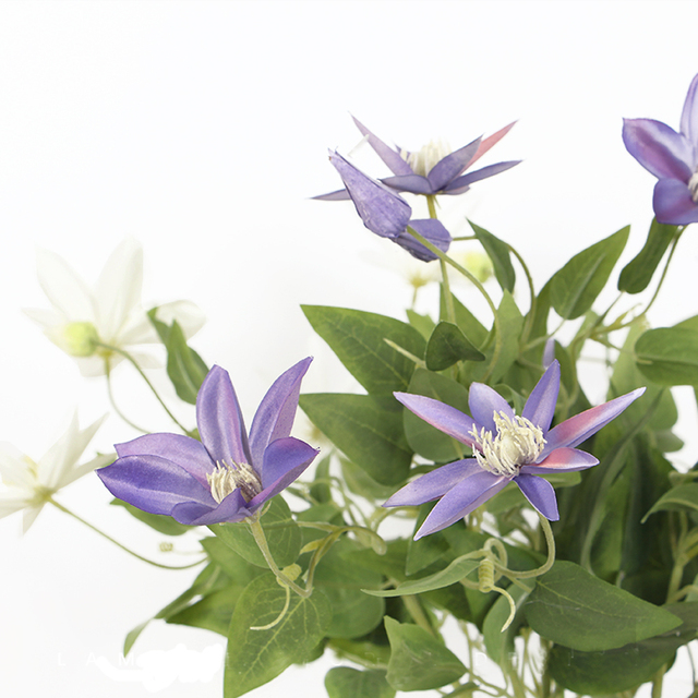 3 Pcs Elegant And Beautiful Hues Of Purple Artificial Clematis Flowers Garland For Wedding Decor Arranging Embellishing