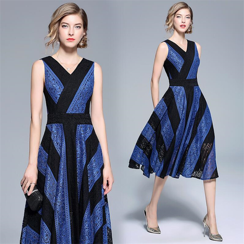 New 2019 Casual V Neck Sleeveless Panelled A line Dress Women Spliced Striped Loose Party Vestidos