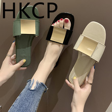 HKCP Fashion Slippers women wear fashion 2019 new summer leisure south Korean version of water drill flat bottom slippers C050