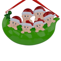 Resin Peapod Family Of 6 Christmas Ornaments Personalized Gifts Write Own Name Holiday Home Decor Hand
