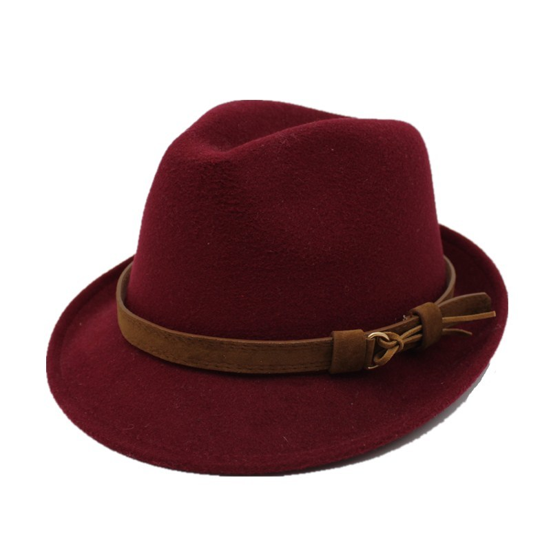 oZyc Wool Women Men Fedora Hat For Winter Autumn Elegant Lady <font><b>Gangster</b></font> Trilby Felt Homburg Church Jazz Hat Size 55-58CM image