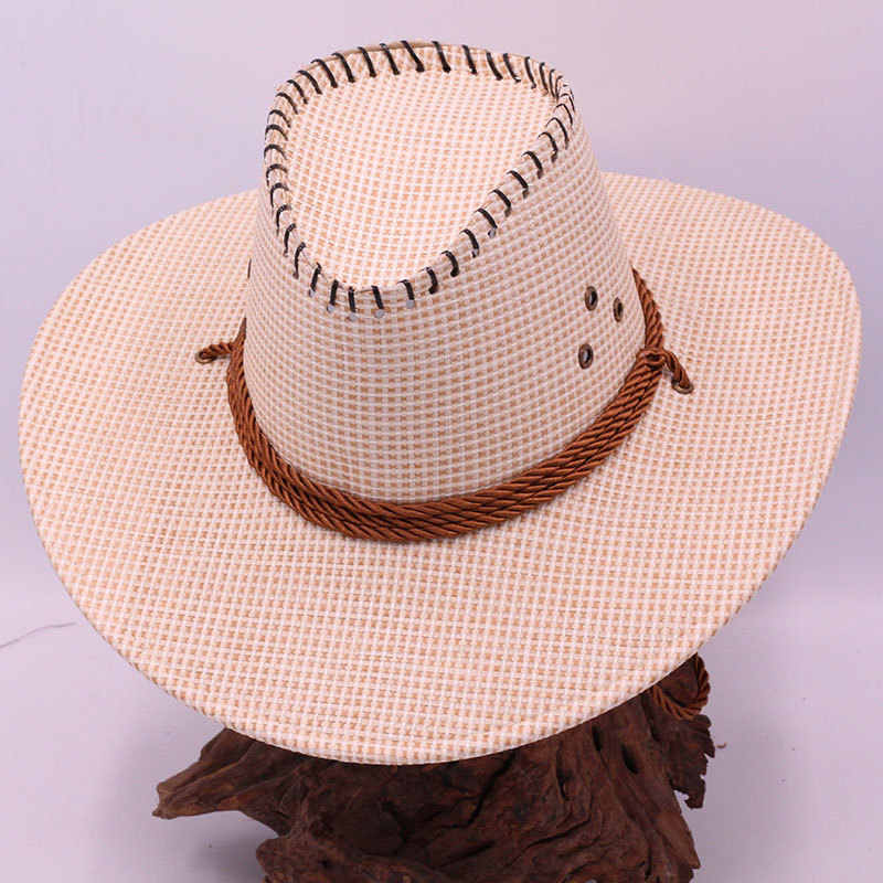 0a5a610d4121cc ... Casual Fashion Straw Hat Sunscreen Men's Anti-Western Cowboy Beach  Visor UV protection Hat