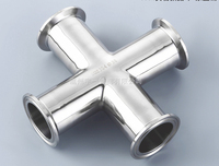 Free shipping 1.5'' 38mm Sanitary Tri Clamp Cross Fitting 304 Stainless Steel