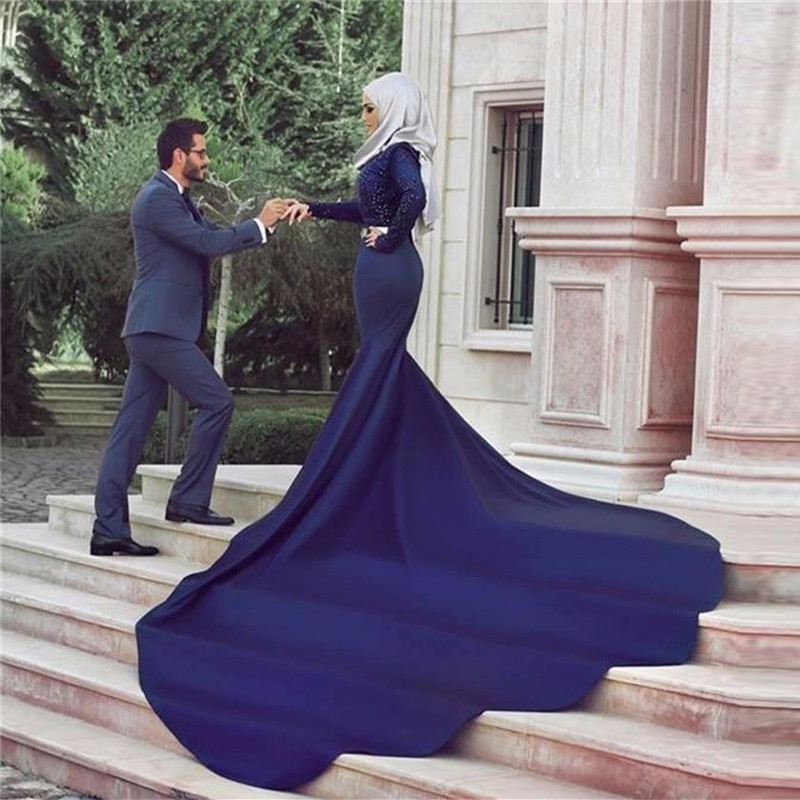 Arabic Style Lace Long Sleeve Wedding Dress Royal Blue Muslim Mermaid Bridal Gown with font b
