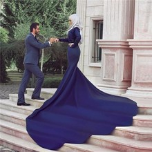 Arabic Style Lace Long Sleeve Wedding Dress Royal Blue Muslim Mermaid Bridal Gown with Hijab Dubai Women Long Dress Kaftan