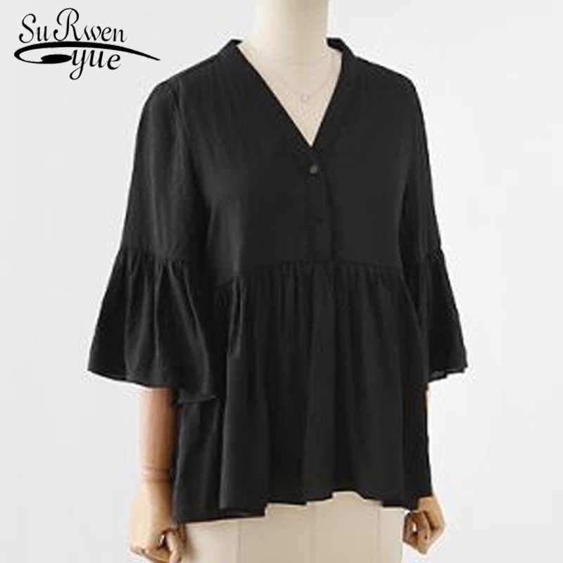 كبير الحجم المرأة الدهون بلون بلوزة أعلى 2019 الأزياء في الصيف مضيئة كم الخامس الرقبة سيدة قميص دمية نوع المرأة أعلى 3606 50