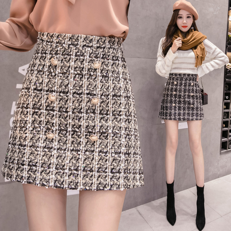 2019 New Women Plaid A line Buttons Skirts Above Knee Vintage Skirt Female Short Skirts Bottoms For Girls BH362 in Skirts from Women 39 s Clothing