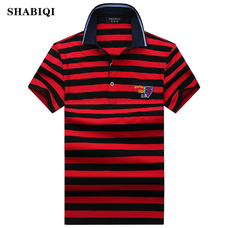 SHABIQI High quality brand men   polo   shirt new summer casual striped cotton men's solid   polo   shirt ralp men camisa