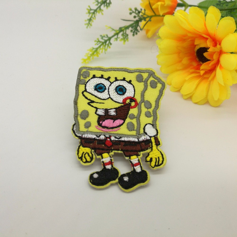 SpongeBob iron on patches baby patch kid biker vest badge embroidered beaded applique wholesale 20pcs/lot